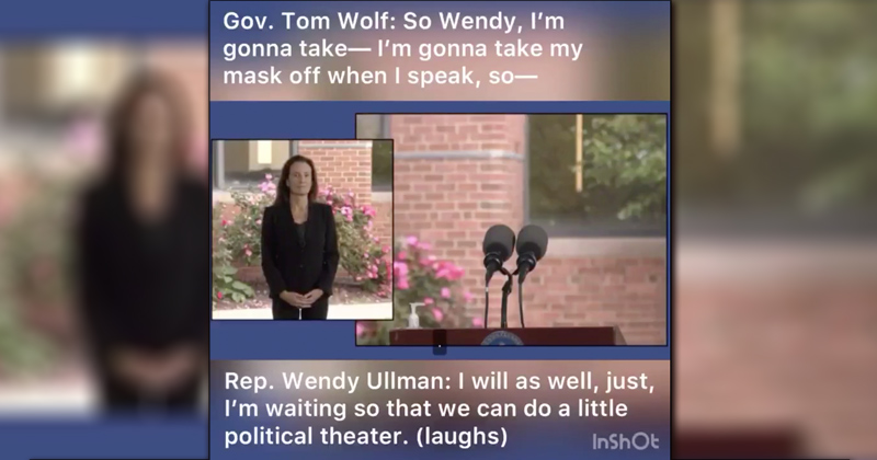 """Democrat Rep Admits to Gov. Tom Wolf Masks """"Political Theater"""" Worn for """"On-camera"""" Appearance"""