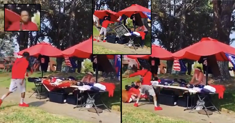 'F*** Trump!' Thug Filmed Destroying Woman's Trump Stand While Shouting Racial Slurs