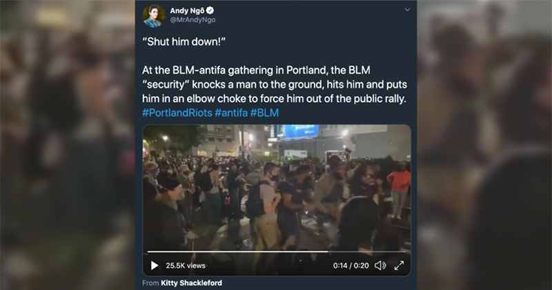 WATCH: Portland BLM 'security' tackles man to the ground, puts him in chokehold